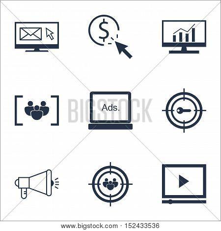 Set Of Marketing Icons On Digital Media, Focus Group And Newsletter Topics. Editable Vector Illustra