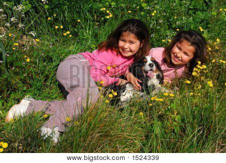 Twins Sister And Dog