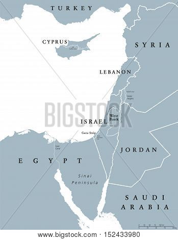 Eastern Mediterranean countries political map with national borders. Nations to the east of Mediterranean Sea, also called Levant. English labeling and scaling. Gray illustration on white background.