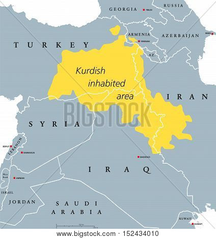 Kurdish-inhabited area political map. Kurdish lands, also Kurdistan. Cultural region wherein Kurdish people form a prominent majority. Parts of Turkey, Syria, Iraq, Iran and Armenia. English labeling.