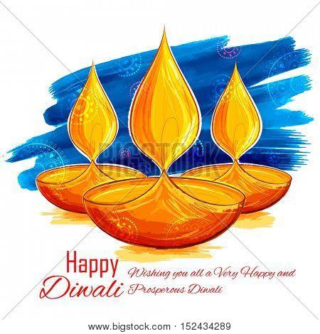 illustration of burning diya on Happy Diwali Holiday watercolor background for light festival of India
