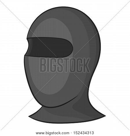 Balaclava icon. Gray monochrome illustration of balaclava vector icon for web