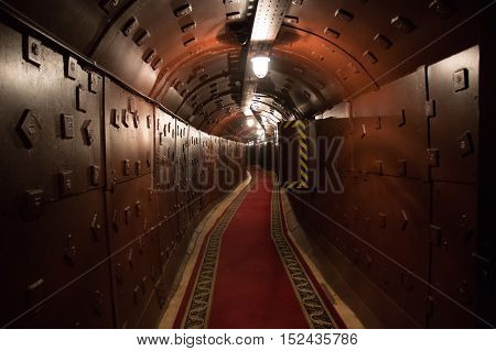 MOSCOW RUSSIA - 08.09.2016: Old bunker during the Cold War. Corridor in the anti-nuclear bomb shelter