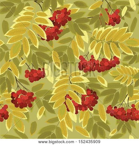 autumn leaves and rowan berries vector illustration seamless pattern