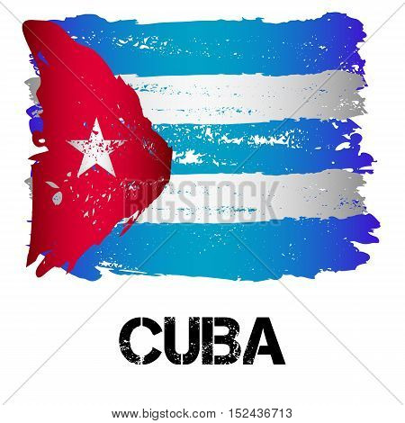 Flag of Cuba from brush strokes in grunge style isolated on white background. Country in North America. Latin America. Vector illustration