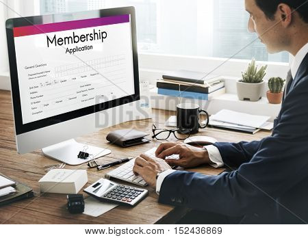 Membership Application Form Register Concept