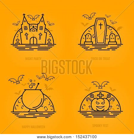 Happy halloween concept icons in line style with bats moon cauldron pumkin coffin graves castle church. Vector design for web page graphics, wallpaper. 31 october in outline style.