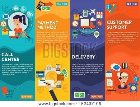 Customer Support, Call Senter, Payment Methods and Delivery concept banners. Flat style vector illustration online web banners