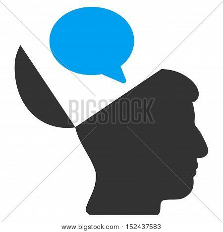 Open Mind Opinion vector icon. Style is flat graphic bicolor symbol, blue and gray colors, white background.