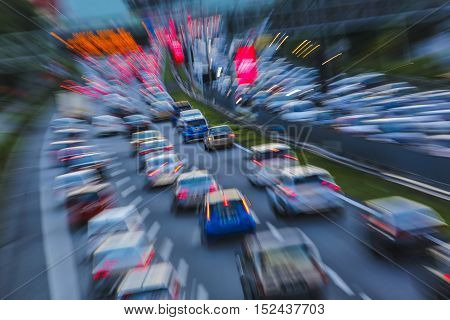 Evening traffic jam. Car during rush hour in motion blur.