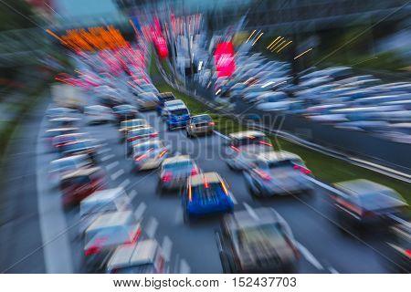 Evening traffic jam. Car during rush hour in motion blur.