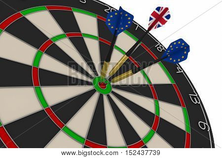 Dart Board With Eu And Uk Flag Darts In Bullseye 3D Illustration