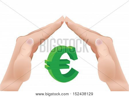 cover and protect the euro Euro sign protected by hands
