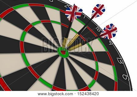Dart Board With Three Uk Flag Darts In Bullseye 3D Illustration