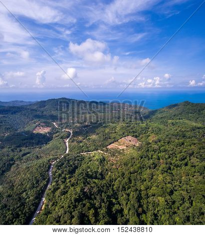 Panoramic aerial view of the road in the jungle of Koh Phangan, Thailand