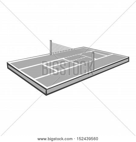Tennis court icon. Gray monochrome illustration of tennis court vector icon for web