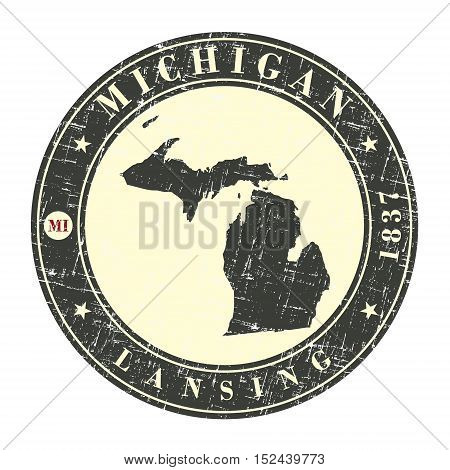 Vintage stamp with map of Michigan. Stylized badge with the name of the State year of creation the contour maps and the names abbreviations . Vector illustration