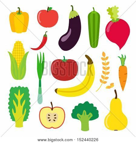 Vegetables and fruit set for smoothie hipster drink. Flat icons set of banana apple laminaria pepper cereal and other. Vector isolated illustration.
