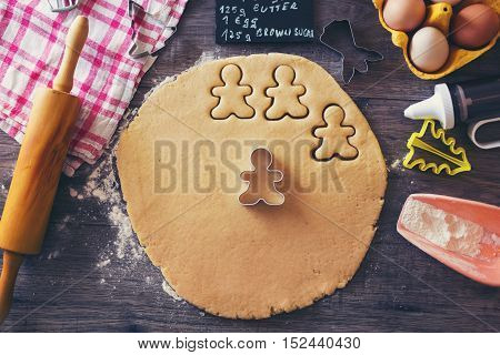 Preparation of gingerbread cookies.Ingredients necessary to make gingerbread pastry
