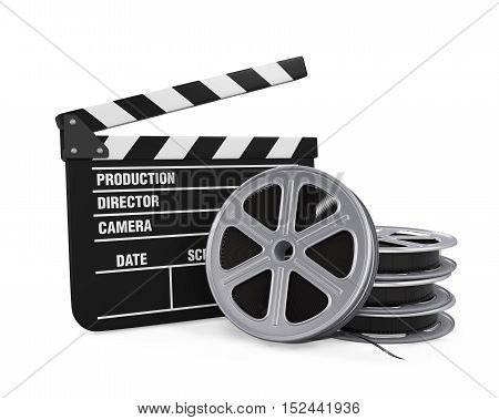 Clapper Board and Film Reel isolated on white background. 3D render