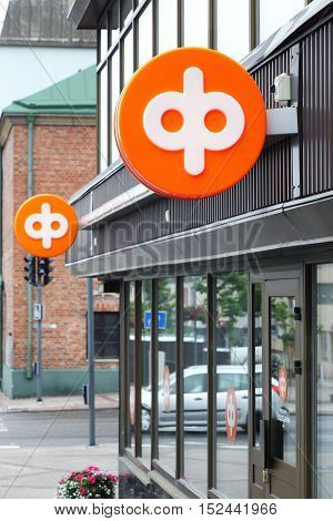 Kemi, Finland - July 9, 2015: OP-Pohjola Group bank office exterior with signs.