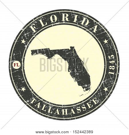 Vintage stamp with map of Florida. Stylized badge with the name of the State year of creation the contour maps and the names abbreviations . Vector illustration