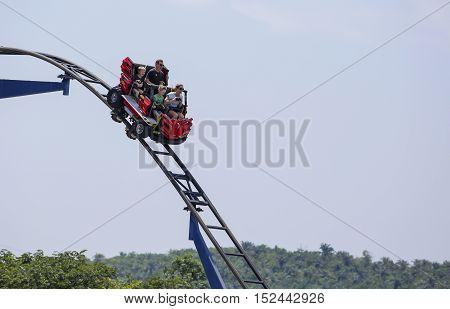 One Happy Family Riding Roller Coaster At Legoland Malaysia