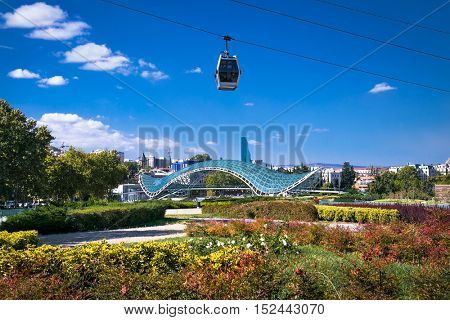 TBILISI, GEORGIA-OCT 2, 2016: Funicular over the Tbilisi city on sany day on Oct 2, 2016. Georgia. Europe.