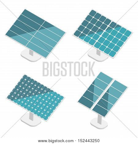 Blue Solar Panels set. Flat isometric. Modern Alternative Eco Green Energy. Vector illustration