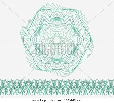 Set: Guilloche Pattern Rosette and border for certificate or diploma, isolated, green. Vector illustration.