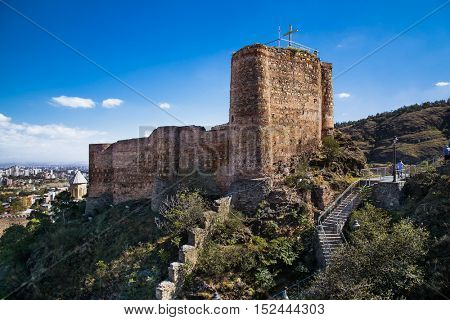 Narikala Fortress in Tbilisi city, Georgia, Europe.