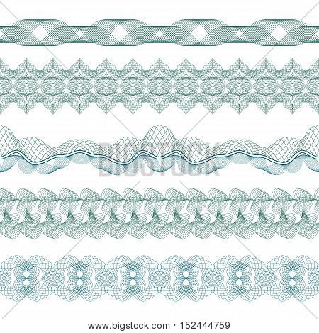 Set: Seamless Guilloche Borders for certificate or diploma, isolated. Vector illustration.