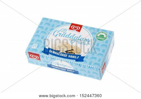 Stockhom,l Sweden - January 23, 2016: A pack of 0.5 liters of ice cream with vanilla flavor produced by the GB for the Swedish market isolated on white.