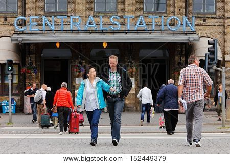 Gothenburg, Sweden - July, 1 2014:  People in motion outside the central station in Gothenburg.