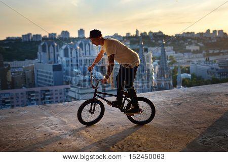 Bmx Bike High Up In The Air.