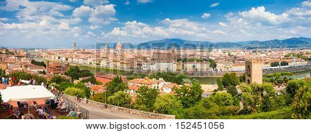 Florence ITALY- September 11 2016: Panorama of city Florence Italy. City view in the Arno valley in the background the Apennine mountains. Florence is the capital city of the Italian region of Tuscany.