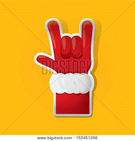 Santa Claus hand rock n roll icon vector illustration. Christmas Rock concert poster design template