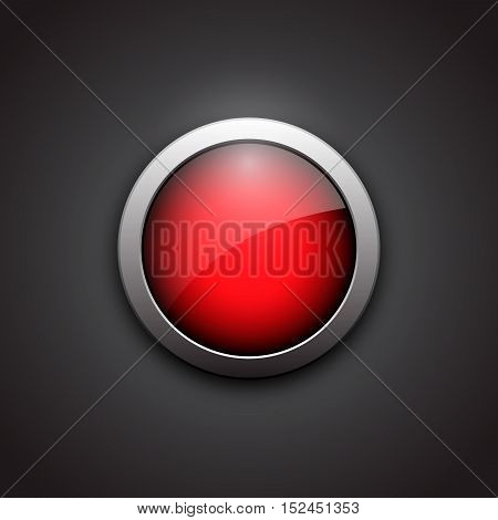 Red shiny button with metallic elements. Button with shadow black background. Glossy design for website. Vector illustration.