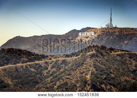 Hollywood hills viewed across Griffith park from the observatory