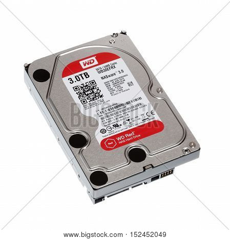 Stockholm, Sweden - October 17, 2017: Western Digital Red 3.5 inch hard drive 3.0 TB for use in NAS systems isolated on white.