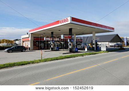 Roros, Norway - September 28, 2015: Norwegian Esso service station in Roros Norway.