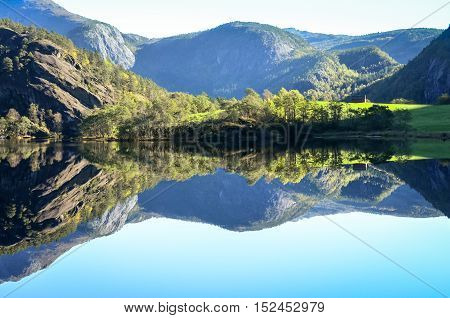 perfect reflection of mountains in fjord water, norway
