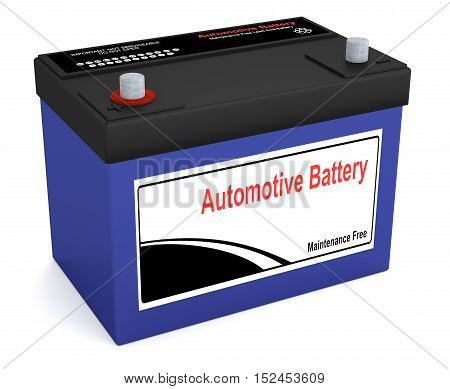 3D illustrative rendering of an automotive battery