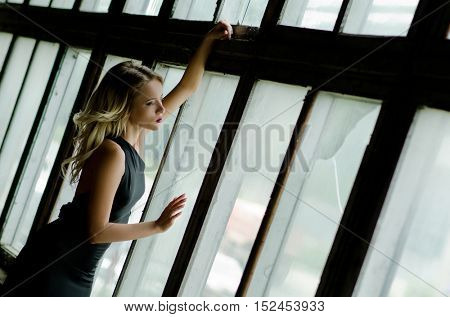 Beautiful girl looking out of a window