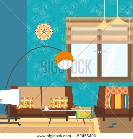 Vector living room interior with sofa table window and TV in the style of 70's.