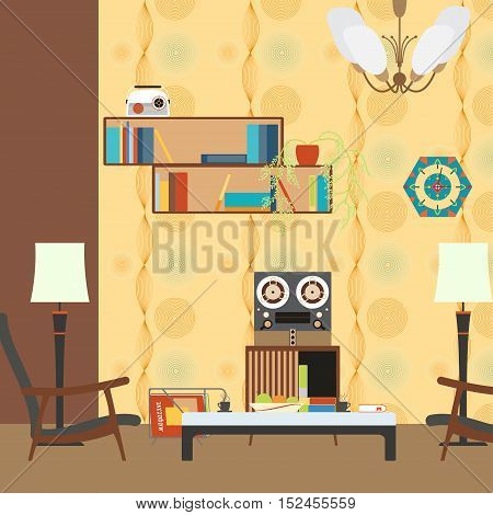 Vector living room interior with armchair table bookshelves and player in the style of 70's.