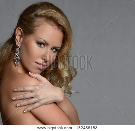 Portrait of beautiful blonde sexy woman