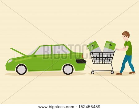 Electric car discharged and man with power battery. Car with a raised hood. Electric car discharged. Hand drawn colorful cartoon vector illustration
