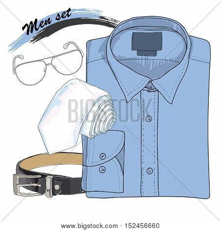 Vector illustration of Hand drawn, doodle coordination shirt, tie, spectacles and belt. Men set on white background. Classical style. Template for brochure, journal, flayer