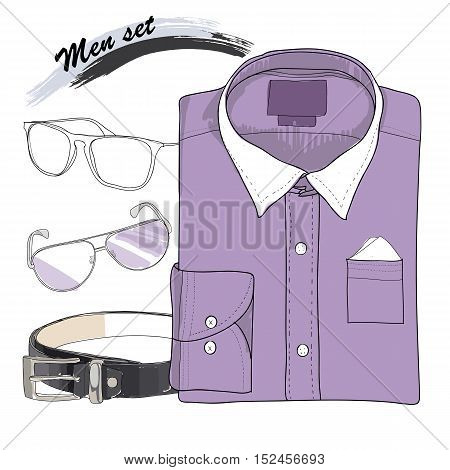 Vector illustration of Hand drawn, doodle coordination shirt , spectacles and belt. Men set on white background. Classical style. Template for brochure, journal, flayer